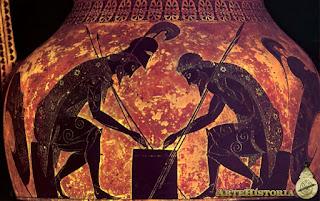 Exequias pintor griego, el azar,