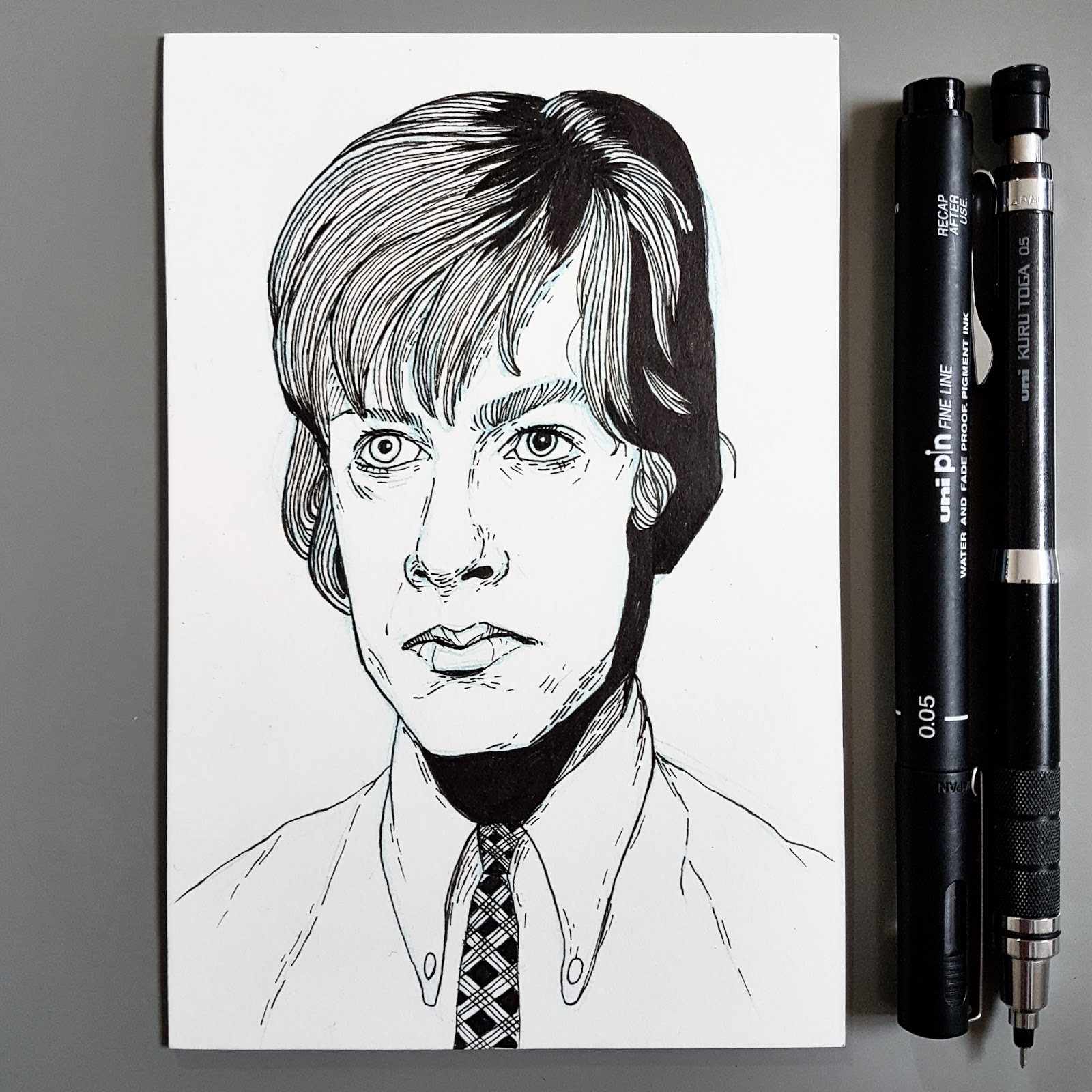 Drawing young David Bowie postcard