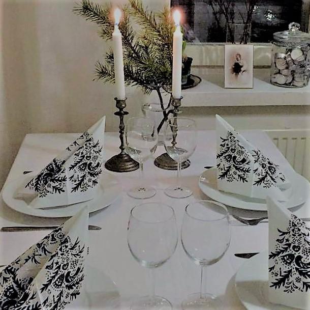 joulupöytä, kattaus