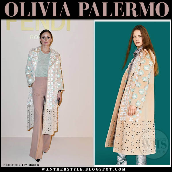 Olivia Palermo in floral embellished cutout pastel pink blush Fendi coat and pink trousers. Fashion week outfits february 2019