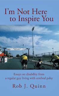 Cover of the book featuring a picture of Rob finishing the M.S. Ride