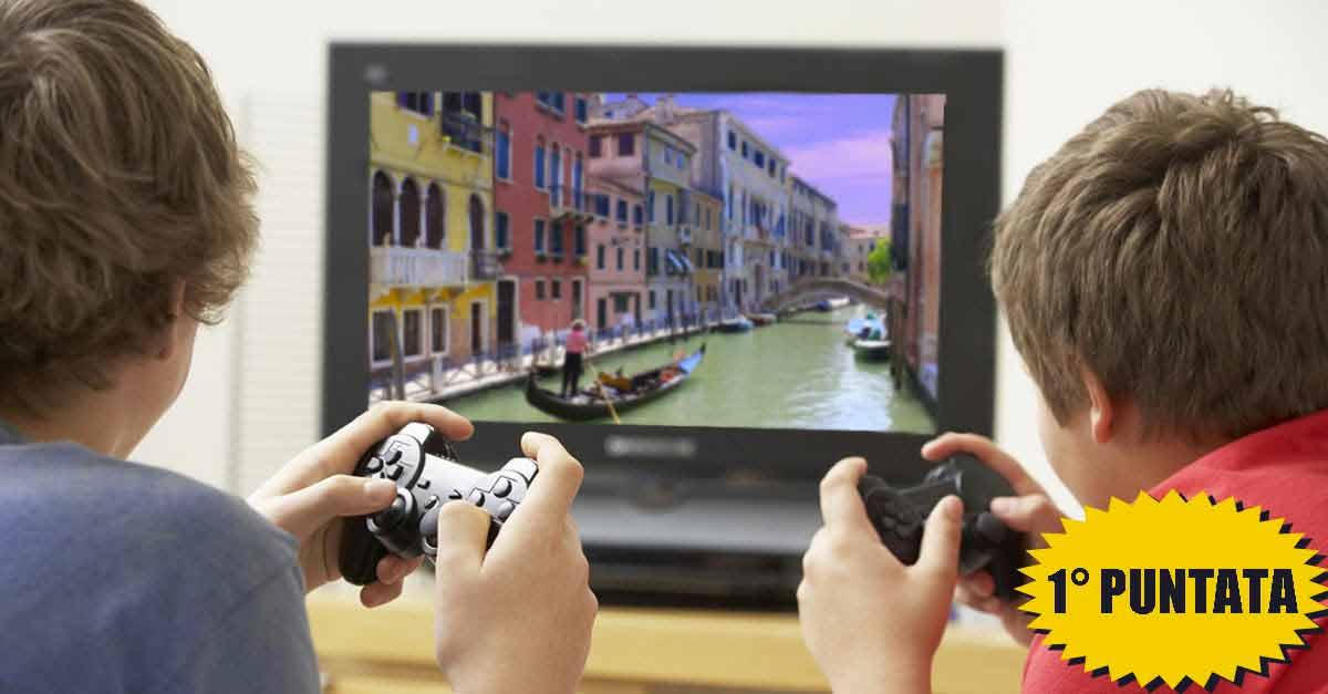 Due bambini videogiocano Venezia