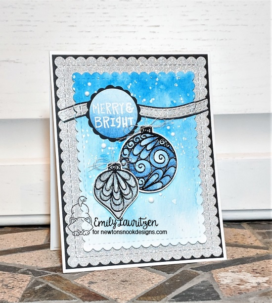Merry and Bright by Emily features Beautiful Baubles, Sentiments of the Season, Framework, Frames & Flags, and Land Borders by Newton's Nook Designs; #newtonsnook