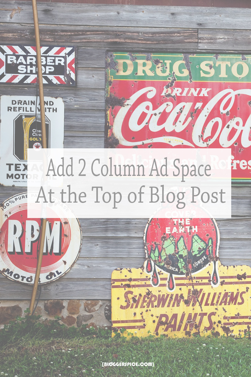 How to add 2 column ad space below the Blogger Post title?