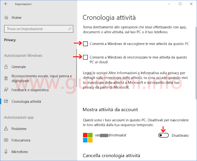 Windows 10 schermata Impostazioni Cronologia attività per disattivare Timeline