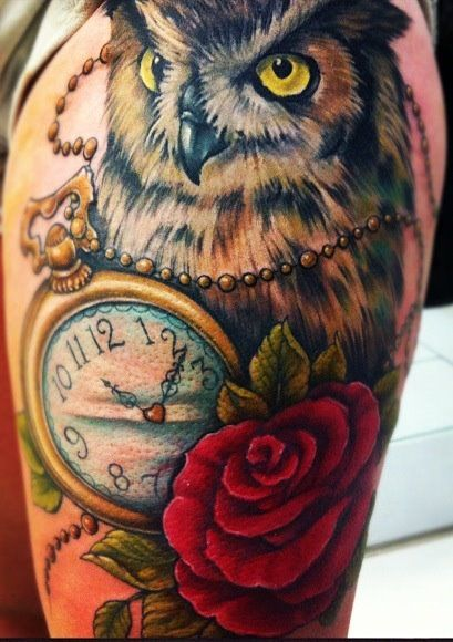 Unique thigh owl tattoos