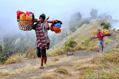 Our porters at Plawangan Sembalun Crater altitude 2639 m of Mount Rinjani National Park