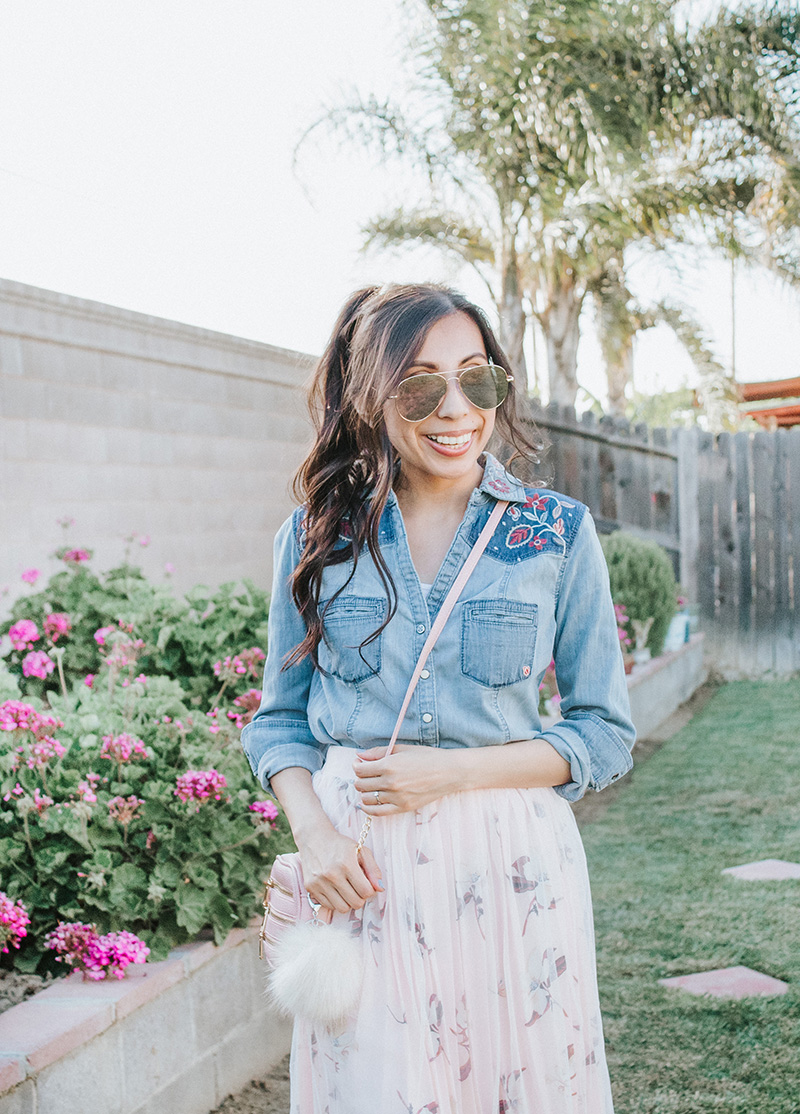 chambray top with blush tulle skirt modest outfit close up