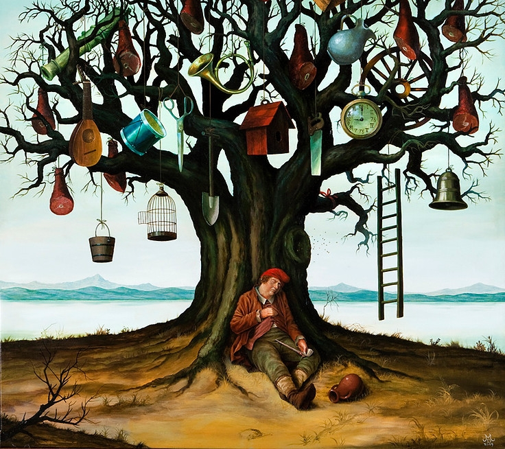 10-The-Ham-Tree-Mike-Davis-Surreal-Paintings-that-hide-a-lot-of-Symbolism-www-designstack-co