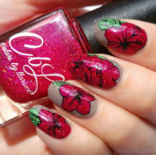 Hibiscus nail art using reverse stamping, by polilish