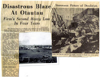 An article and photos from newspaper on the fire at J E Wright's building, Otautau, 1965.