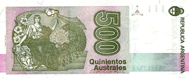 Argentina money currency 500 Australes banknote 1990