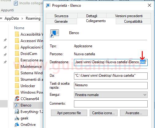 Finestra proprietà file rinominare cambiando estensione