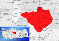Yozgat Aydıncık ilçesinin nerede olduğunu gösteren harita