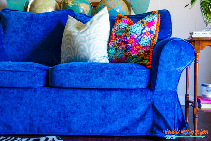 Blue Velvet Sofa Pillows