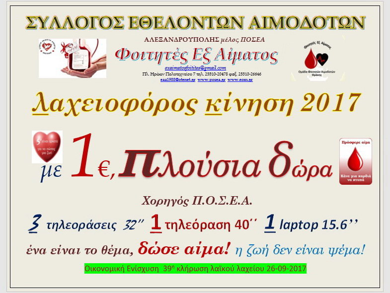 Λαχειοφόρος αγορά Συλλόγου Εθελοντών Αιμοδοτών Αλεξανδρούπολης