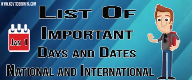 List of important days and dates of National & International 2019