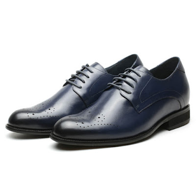Blue Height Increase Dress Shoes Leather Formal Shoes With Lifts Men Tall Shoes 7 CM/2.76 Inches
