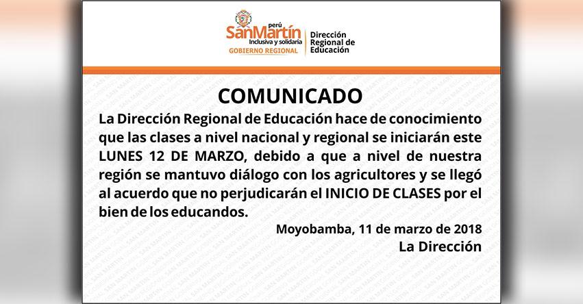 COMUNICADO DRE San Martín: Clases Escolares se inician indefectiblemente el Lunes 12 de Marzo en toda la región - www.dresanmartin.gob.pe