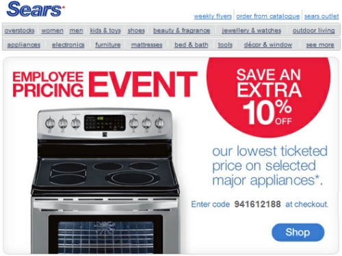 Coupon For Sears Appliances Online