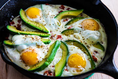 Baked Eggs Skillet with Avocado and Spicy Tomatoes [found on KalynsKitchen.com]