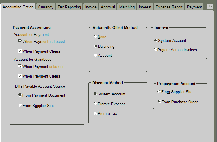 Payables Options Setup in Oracle : How to configure Oracle Payables Setups