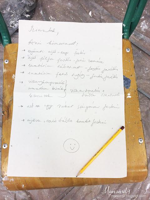 DIY osztályterem felújítás - feladatok - ami még hátravan