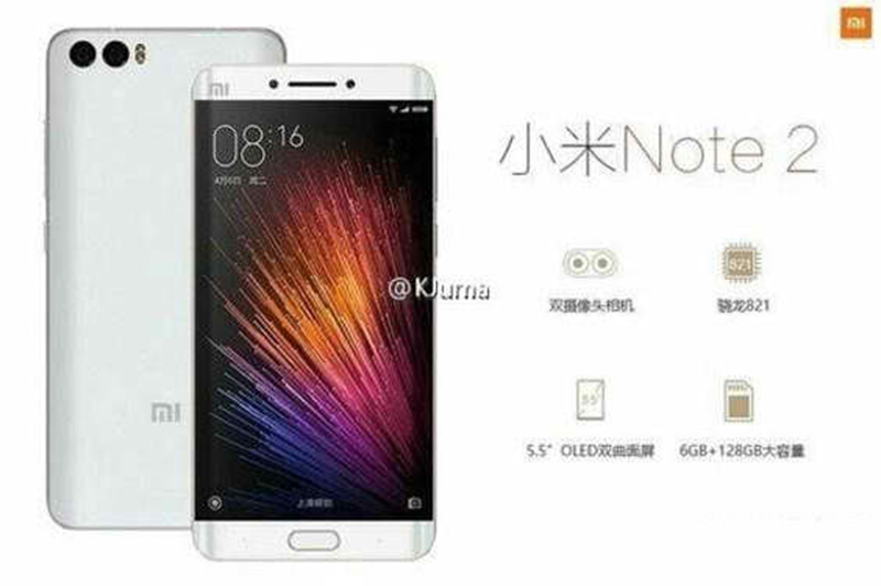 Xiaomi Mi Note 2 Leaks, Might Come With Snapdragon 821 And 6 GB RAM!