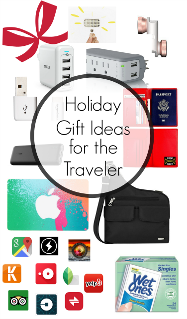 Holiday Gift Ideas for the Traveler - I never travel without all of these items! USB chargers, iPhone cords, the best travel purse, photography lights, iPhone lenses, the best travel apps!