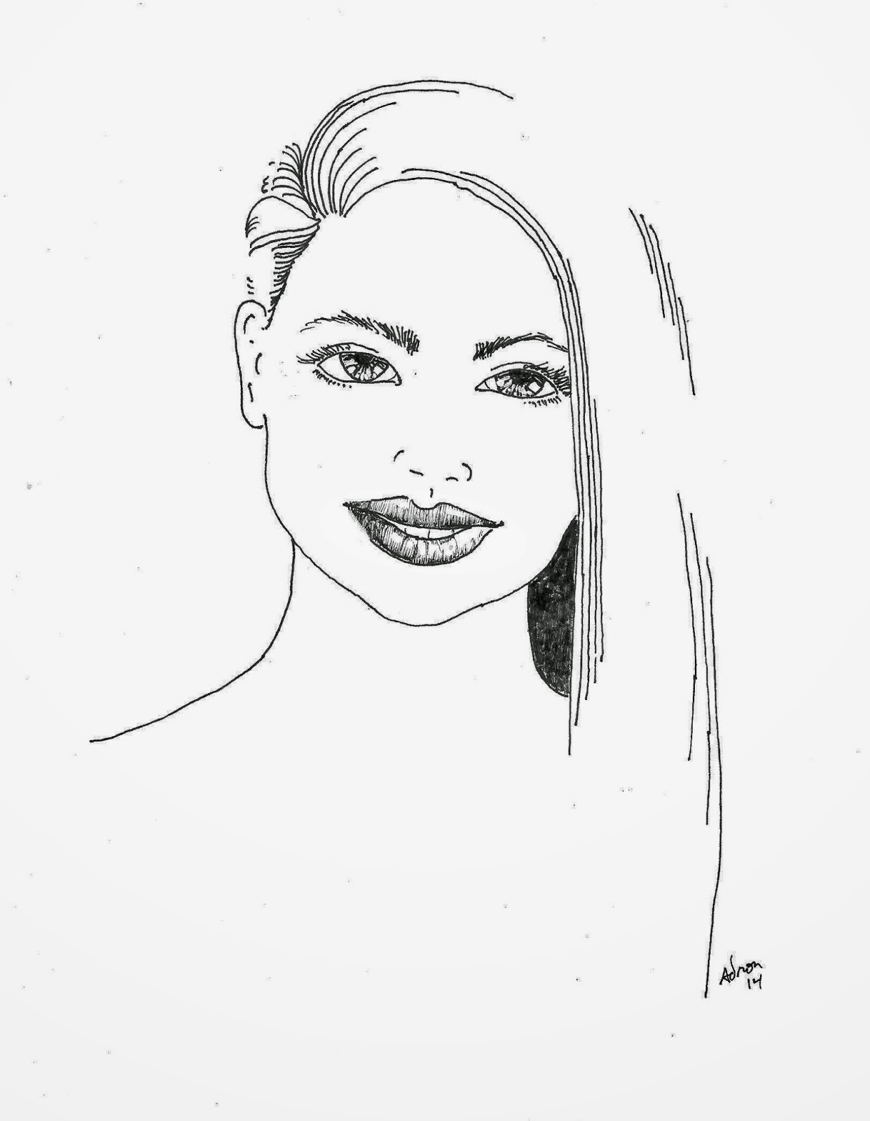 Portraits By Adron Simple Line Drawing Of A Young Woman S