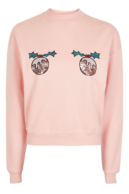 pink christmas jumper, christmas pudding jumper, topshop christmas jumper, pink christmas sweatshirt, christmas sweater,