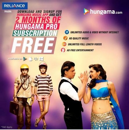 Hungama Offering 2 Months Free Subscription For Reliance Users 2015