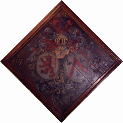Obit d'alliance à deux écus ovales, typique du XVIIIe siècle