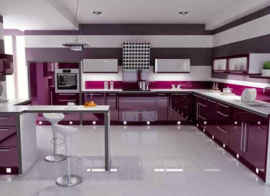 Kabinet Dapur Warna Purple Desainrumahid