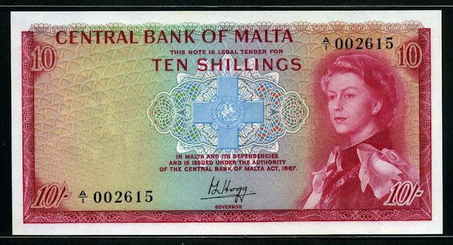 Malta currency 10 Shillings banknote Queen Elizabeth George Cross
