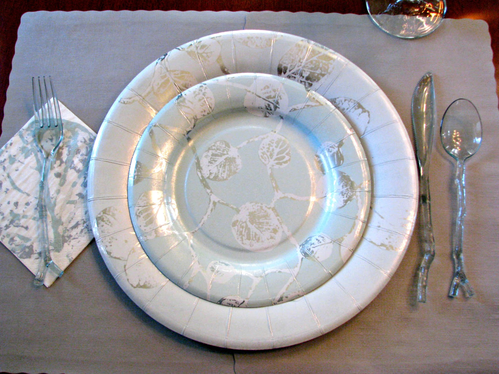 Botanical Leaf Plates with Teal Twig/Stick Utensils
