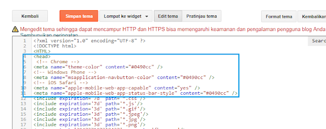 Cara Mengubah Warna Address Bar di hp Sama dengan Warna blog