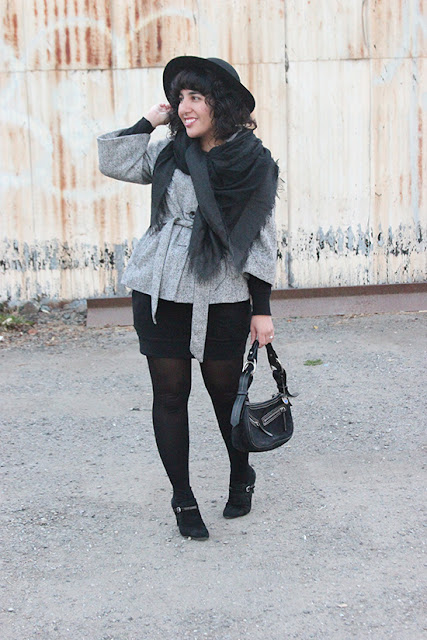 Gap Tweed Belted Coat and Diane von Furstenberg Black Mini Skirt Winter Office Outfit