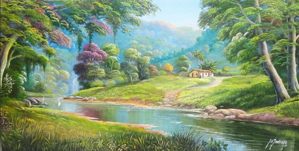 Im genes arte pinturas frescos paisajes selv ticos y del - Paisajes de casas de campo ...
