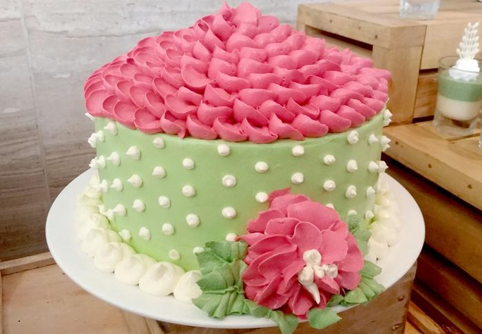Tulip Buttercream Cake (Matcha)