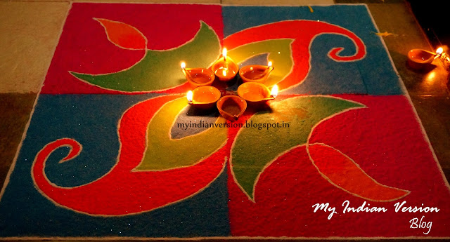 Diwali Decoration at My Home - Maindoor Rangoli
