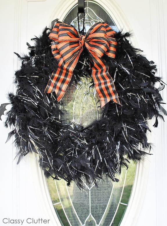 Popular Feather Boa Halloween Wreath - Classy Clutter KS56