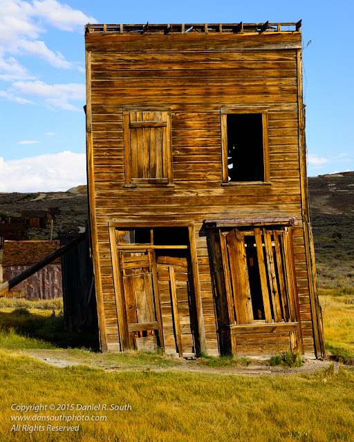 a photo of a leaning structure in the ghost town of bodie california by daniel south