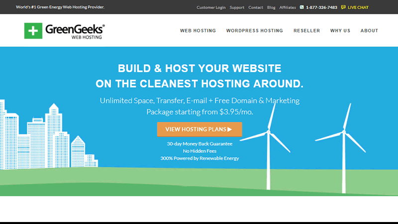GreenGeeks is an environmentally responsible web hosting provider