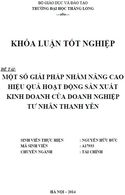 Một số giải pháp nhằm nâng cao hiệu quả hoạt động sản xuất kinh doanh của doanh nghiệp tư nhân Thanh Yên