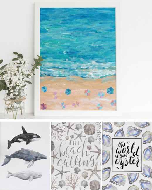 Printable Coastal Water Color Paintings