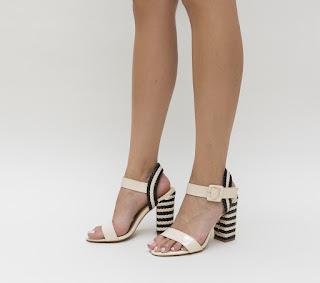 sandale de vara cu toc gros cu model impletitura