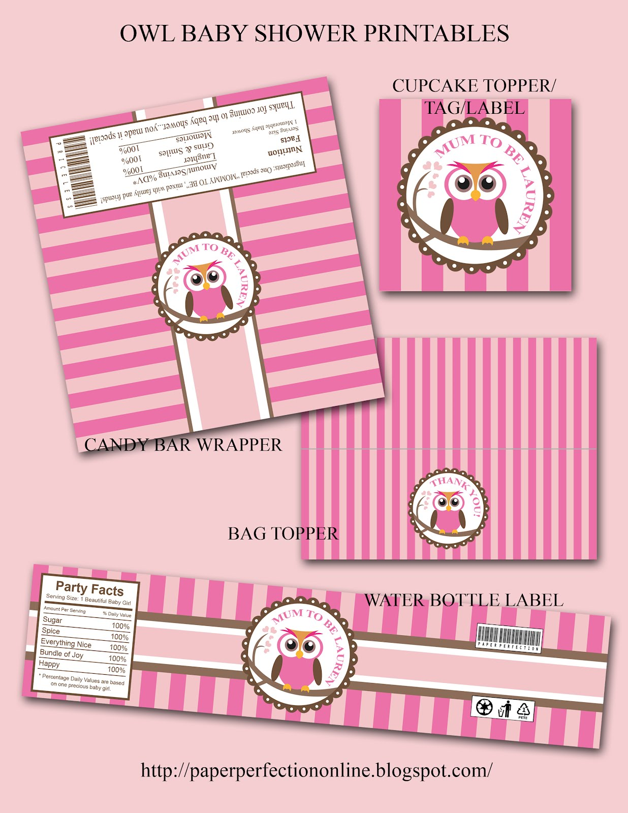 Paper Perfection Owl Baby Shower Printables