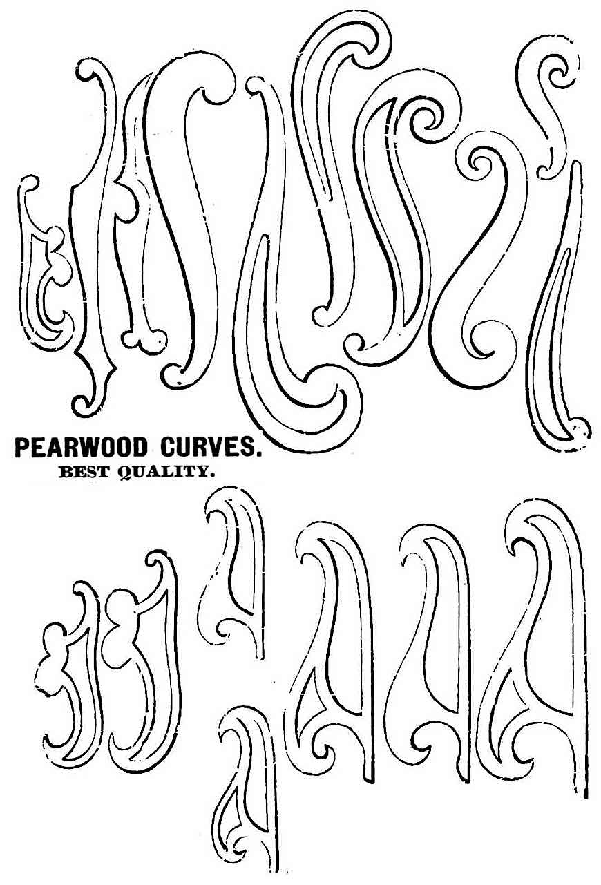 A catalog illustration of 1888 wood drafting curves