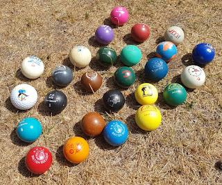Lots of specialist minigolf balls